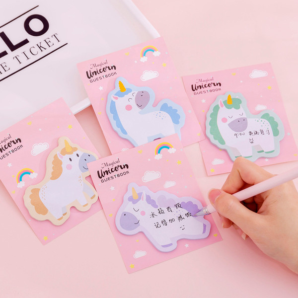 top popular Hot sale kawaii Unicorn sticky memo pads cute cartoon sticky note N times sticky notes office stationery scrapbook agenda stickers 2020