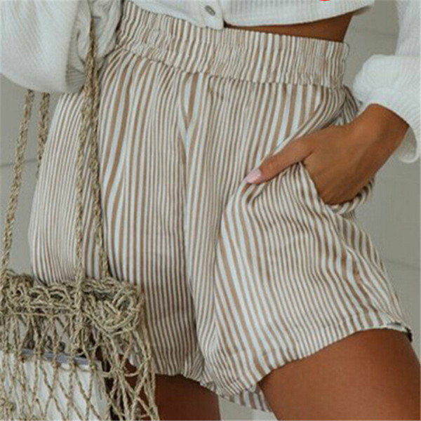 Trendy Women clothes High waist pocket Summer Sexy Hot Casual Beach Polyester Striped Shorts one pieces