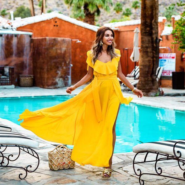 Plus Sizes Czech 2019 For women summer bohemian Casual beach sundress zesty fashion tank Yellow Maxi dress