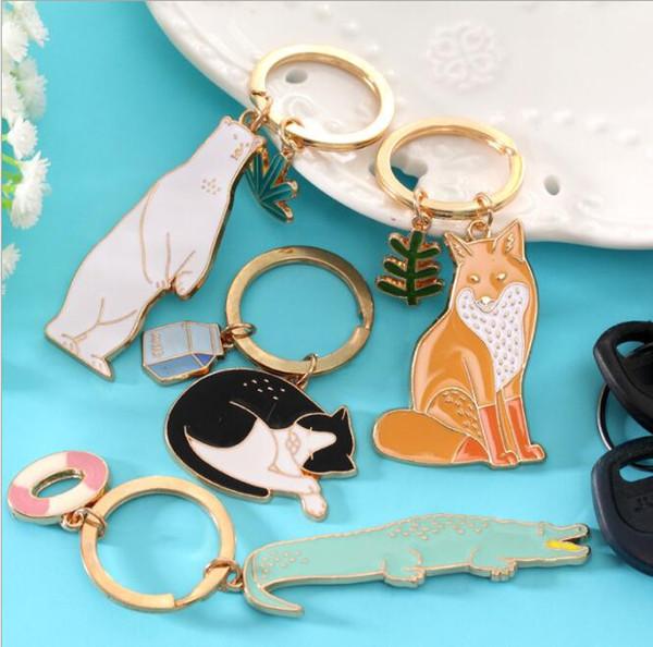 12pcs Fashion Keychain Zoo Keychain Korea Lovers Cute Cartoon Car Ornaments Metal Key Rings Girlfriend Gift Student Cat Crocodile polar Bear