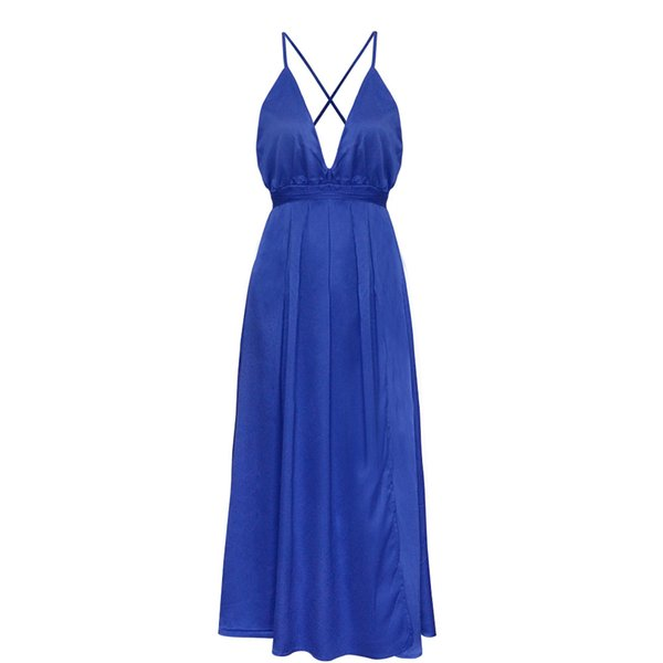 Summer 2019 New Fashion Sexy Deep V-neck Backless Beach Skirt Solid Color Strap Long Dress Dress
