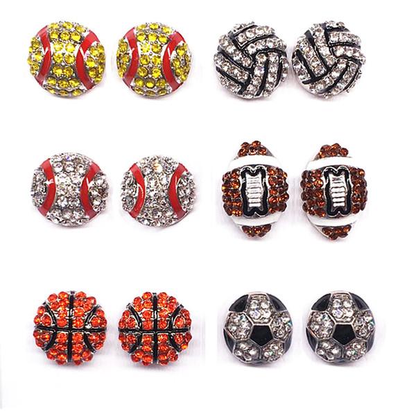 Sport Ball Form Ohrstecker Softball Basketball Volleyball Bowling Baseball Fußball Rugby Bling Kristall Ohrringe Für Frauen Schmuck Geschenk