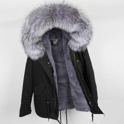 Real pictures fox furs women fur jackets grey fox fur trim hoody grey rabbit fur lining black mini parkas