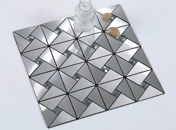 Peel and Self-Ahesive Backplash Brushed Metal Tile stick on wall for Kitchen and Bathrooms