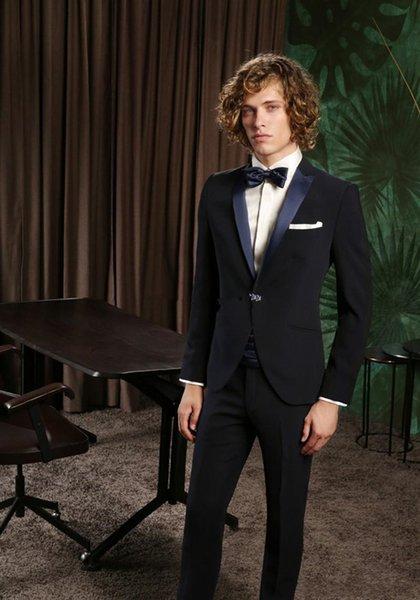 New Fantastic Style One Button Black Wedding Groom Tuxedos Peak Lapel Groomsmen Mens Dinner Blazer Suits (Jacket+Pants+Tie) 287