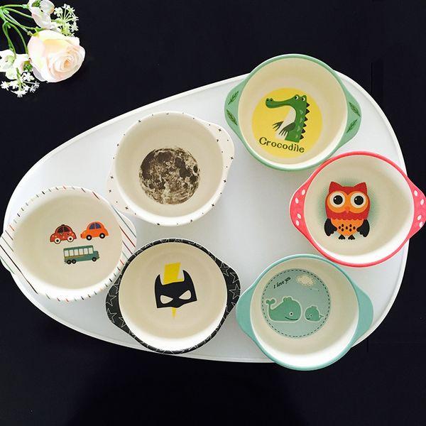 Baby Feeding Bowls Natural Bamboo Fiber Cute Cartoon Dishes Tableware Child Food