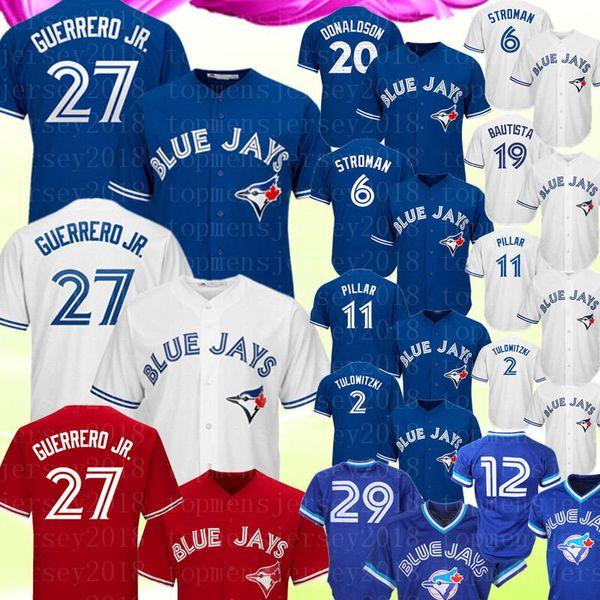 Blue Jays 27 Vladimir Guerrero Jr. Jersey Toronto Blue Jay Josh Donaldson 11 Kevin Pillar 6 Marcus Stroman 29 Joe Carter Bautista