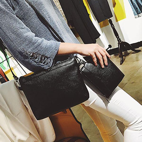 2 Pcs/Set Classical Women Composite Bag PU Leather Solid Color Handbag Lady Casual Travel Shoulder Messenger Bags Popular FA$1