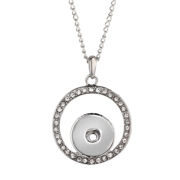 Newly listed ladies fashion circle shaped white rhinestone pendant item Diy ginger buckle jewelry can be matched with stainless steel chain