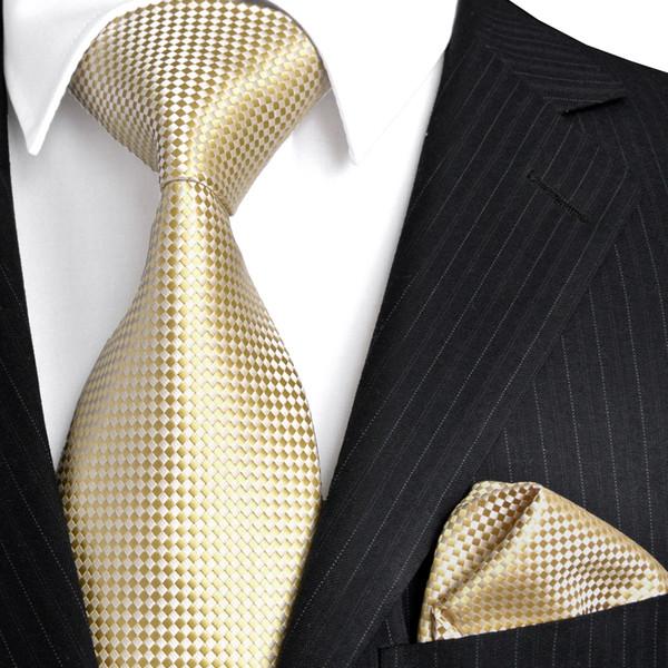 prezzo minimo a basso costo corrispondenza di colore Acquista F15 Oro Giallo Argento Controllato Solido Cravatte Da Uomo  Cravatte 100% Seta Jacquard Tessuto Cravatta Set Fazzoletto Vestito Regalo  Gli ...