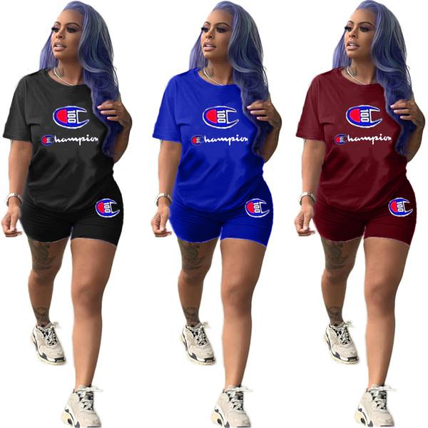 Mulheres Campeões Esporte terno roupas de lazer Letras impressas duas peças set curto seleve tee top + calções bodycon plus size s-3xl 612