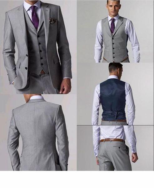 High Quality Wool Suits Side Slit Light Gray Groom Tuxedos Notch Lapel Man Business Suits Prom Suits (Jacket+Pants+Tie+Vest) L:02