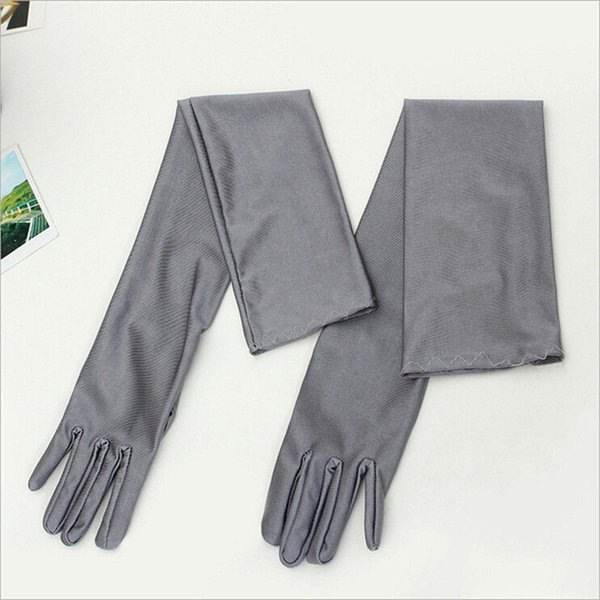 Классический Женщины взрослых Черный Белый Красный Серый кожи Opera / Elbow / запястье Stretch Satin пальцев Длинные перчатки Хлопушки перчатки Matching костюм