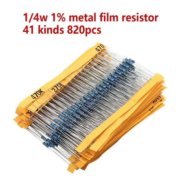 820 unids / set 40 Clases 1 / 4W Resistencia 1% Metal Film Resistor Pack Surtido Kit 1K 10K 100K 220ohm 1M Resistores