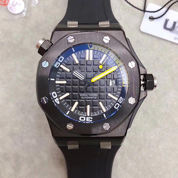 Top Qulaity Limited Royal Oak Offshore Forged Carbon Diver Automatic Mechanical Watches PVD Black Watch Rubber 42mm 15706 Mens Wristwatch