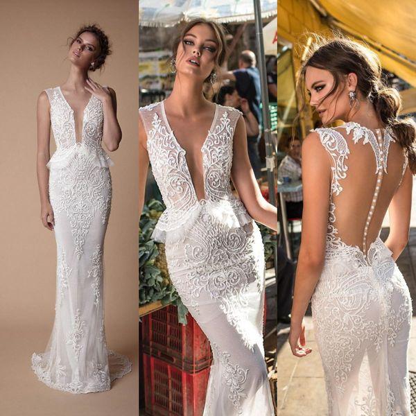 Newest Berta Lace Wedding Dresses 2019 Deep V Neck Sleeveless Designer Sexy Sheath Boho Beach Wedding Dress Sweep Train Bridal Gowns