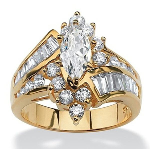 Hotyou europäischen und amerikanischen Frauen mit 18 Karat Gold farbigen Diamant eingelegten unregelmäßigen pferdeförmigen terrassenförmigen Zirkon Ring überzogen