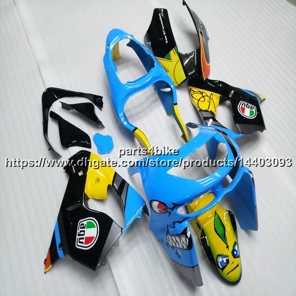 5Gifts+Custom blue yellow bodywork motorcycle Fairing For Kawasaki ZX9R 1998 1999 ZX-9R 98-99 ZX 9R ABS plastic kit