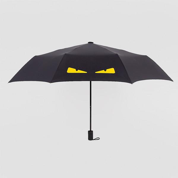 Sunny umbrella Simple little devil 8 bone Paraguas de plástico negro Monster Black pegamento impresión Protector solar Paraguas nuevo estilo directo de fábrica