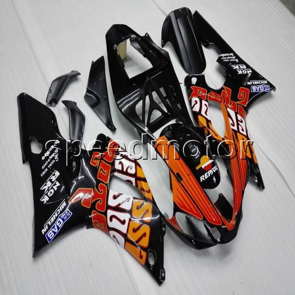 Custom + Screws naranja negro ABS carenado de la motocicleta para Yamaha YZFR1 00 01 YZF-R1 2000- 2001 Body Kit paneles de motor