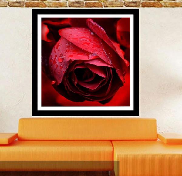 Rosa roja Pinturas de diamante DIY Arte moderno La imagen para la decoración de la sala de estar sin marco (Tamaño: 20x20cm)