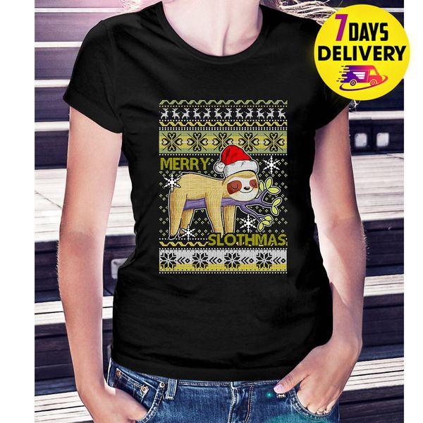 Feliz Slothmas Santa Hat Ugly Natal T-Shirt Das Mulheres Negras Tamanho S-3XLolour jersey camiseta Impressão