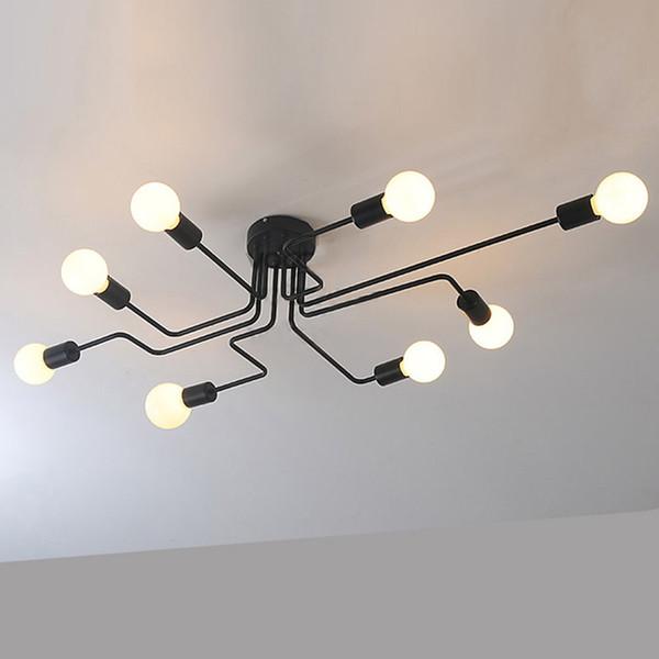 Negro Vintage luces de techo accesorios de cocina para comedor restaurante decoración interior lámpara para el hogar E27 Edison Retro para 8 iluminación