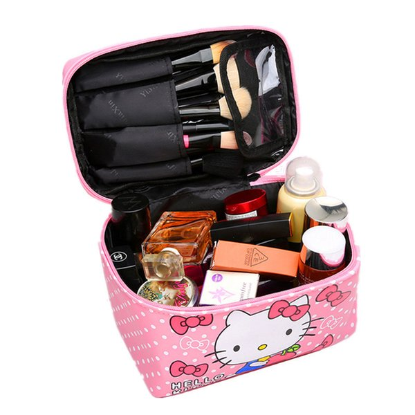 Women Cute Hello Kitty Cosmetic Bag Cases Pu Leather Beauty Vanity Make Up Box Travel Organizer Toiletry Wash Storage Pouch Tote Y19052501