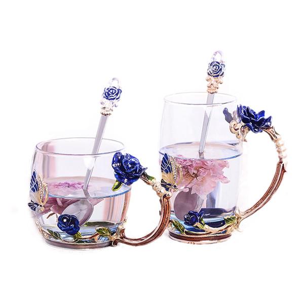 Exquisito Vintage Rose Tazas de vidrio de esmalte resistente al calor, Juego de té de flores Taza de café, Leche de agua Café Espresso Drinkware para regalo