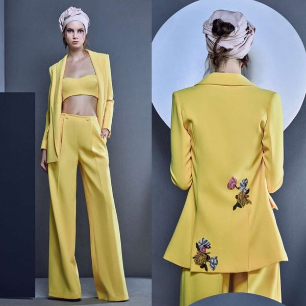 4443135a3d Bright Yellow Prom Dresses Three Pieces Suits Embroidery Evening Gowns  Formal Party Dress Sets Outfits (
