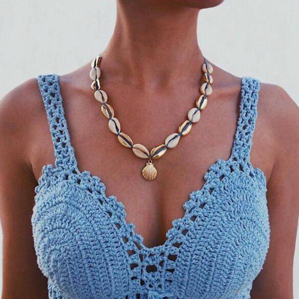Bohemio Shell Colgante Gargantillas Collares Cuerda Collar de cadena Collar para las mujeres de aleación tejida a mano Accesorios de joyería
