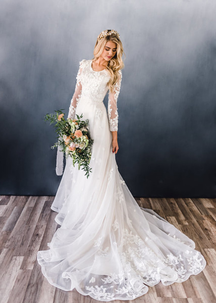 Discount 2019 New Simple A Line Modest Wedding Dresses With Long Sleeves Scoop Neck Champagne Lace Appliques Flowers Modest Lds Bridal Gown Long