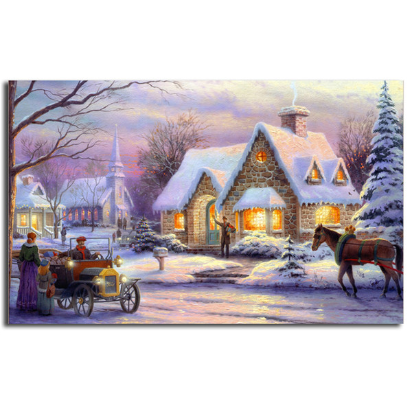 Thomas Kinkade Snow Field Night Poster Canvas Painting Oil Framed Wall Art Print Pictures For Living Room Modern Home Decoracion Framework