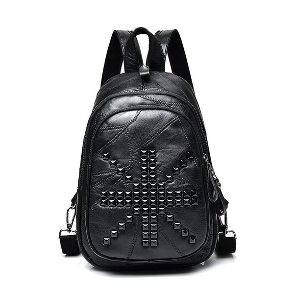 2019 Split Joint Genuine Leather Both Shoulders Package Pop Cool Time M Word Rivet Small Backpack