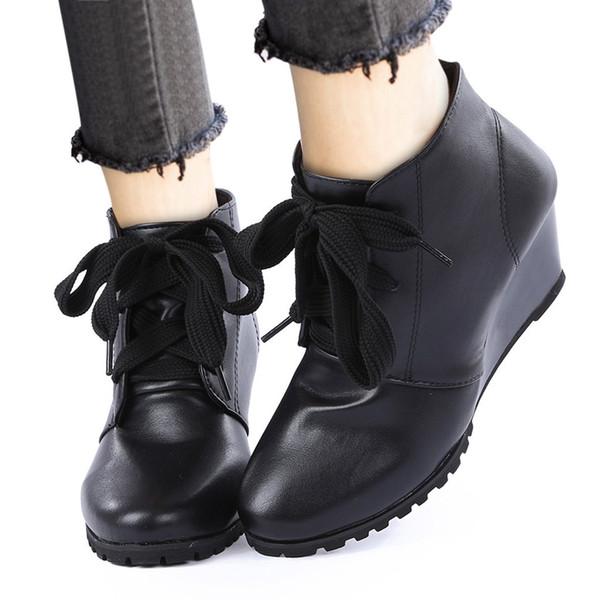 YOUYEDIAN ботильоны для женщин роскошные женские лодыжки голые круглый носок шнуровка сапоги клинья короткие пинетки botas de mujer de #808g45