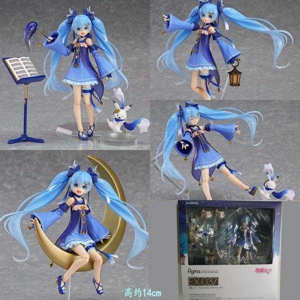 Anime Vocaloid Hatsune Miku figma EX-037 Twinkle Ver Snow. Figma 307 Ação PVC figuras colecionáveis Modelo Kids Brinquedos Boneca 14CM