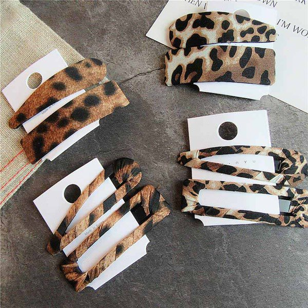 2adet / Seti Kadınlar Leopard Tokalarım Bangs laides Toka Moda Headdress Saç Takı için Şapkalar Klip Tokalar Saç kırpar Yan Klipleri yazdır