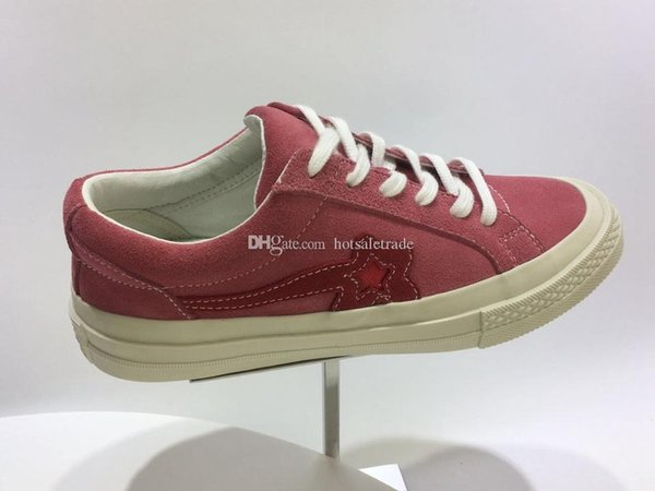 Rosa Uma Estrela X Sapatos De Golfe Sapatilha De Lona 2019 Baixa Top Moda Sapatos Casuais Baratos Desconto Camurça De Couro Da Sapatilha Com caixa, recibo, saco