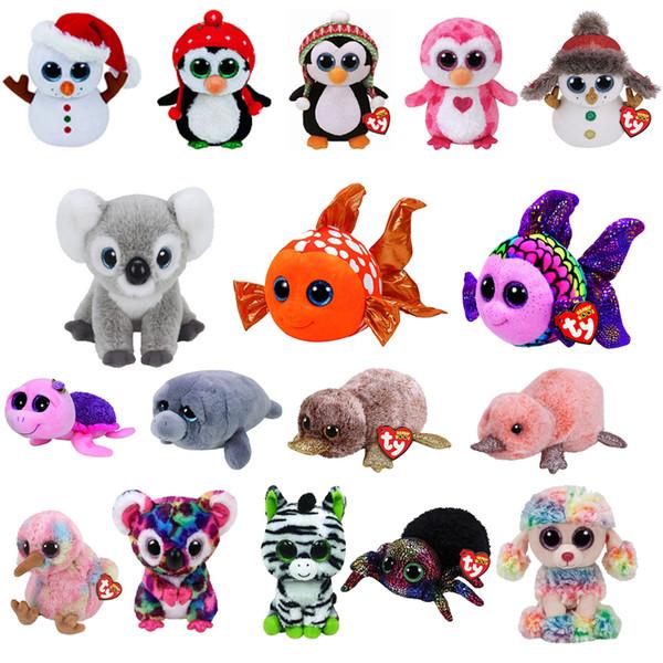 "Ty Beanie Cute reindeer Boos Big Eyes 6"" Plush Goldfish spider owl reindeer Animal Toys Kids Children Gifts"