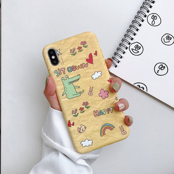 Sıvı Silikon Telefon Kılıfı Karikatür Çizim Küçük Dinozor Iphone Için Xr 6 7 8 X Artı Xs Max Buzlu Yumuşak Cep Telefonu Kılıfları