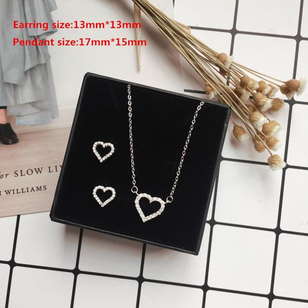 Monili delle donne dell'argento sterlina 925 semplici insieme di forma del cuore e piccola collana splendida dell'orecchino dello zircone per i monili di modo delle donne
