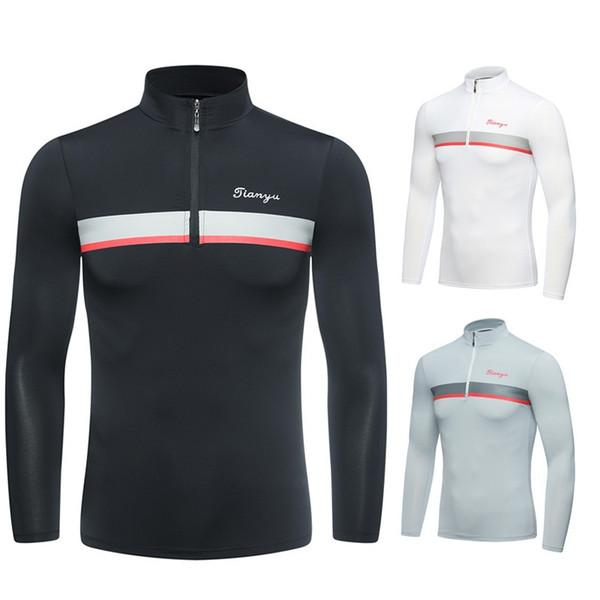 top popular 2019 Men Half Zipper Neck Golf T Shirts Summer Sunscreen Breathable Undershirt Muscle Long Sleeved Shirt D0657 2019