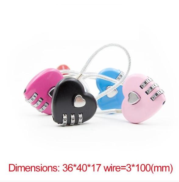 Heißer verkauf liebe passwortsperre drahtseil schloss reisetaschen drei bit digital lock rücksetzbare kombination vorhängeschloss herz