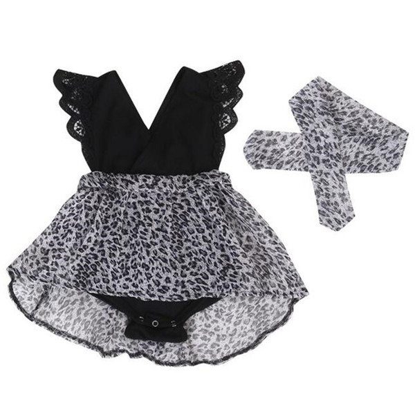 New Arrival Baby Girls Dress Summer Girls Leopard Printed Flying Sleeve Dress Lace Ruffle Princess with Headband 1