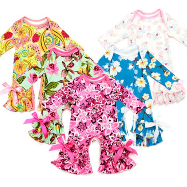 European Style Romper 2018 Baby Girl Romper O-Neck Newborn Baby Rompers Clothes Print Baby Girl Clothes Pullover Girl Clothes