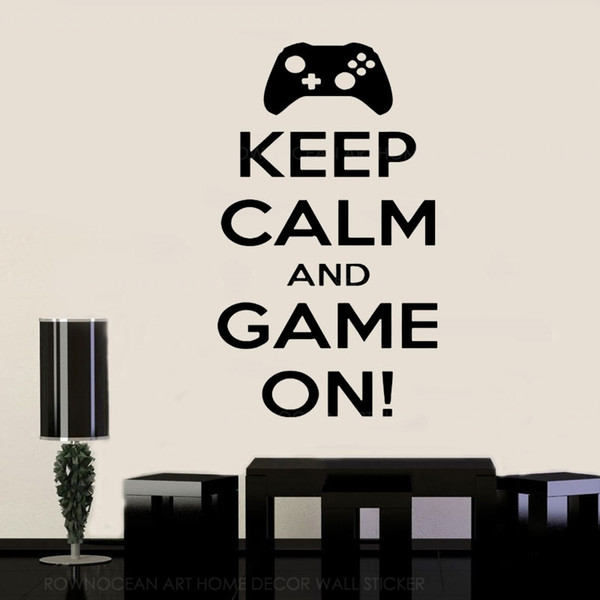 Keep Calm And Game On Quotes Wall Sticker Vinyl Home Decoration Boys Room  Playroom Teens Bedroom Game Controller Wallpaper Bird Wall Stickers Black  ...