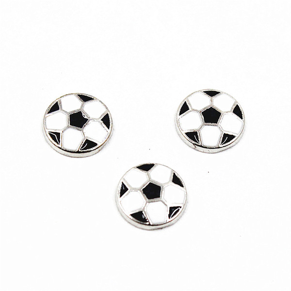 50pcs/lot Enamel Football Sport Floating Charms For Living Glass Floating Lockets Necklace & Bracelet DIY Jewelry