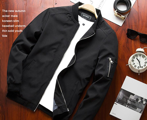best selling 2020 New Arrival Spring Autumn Men's Business Jackets Solid Fashion Coat mens Casual Slim Stand Collar Brand men Bomber Jacket