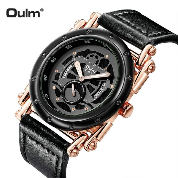 OULM Royal Outdoor Sport Watch Men Quartz Clock Rose Golden Case Creative Skeleton Dial Oversize Mens Watches Top