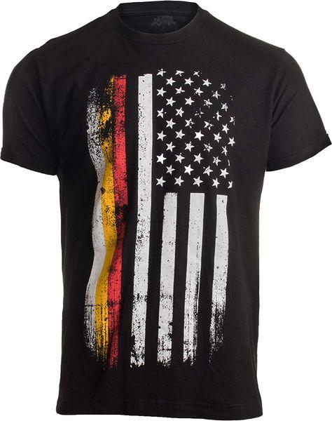 Alman-Amerikan Bayrağı | ABD Amerika Almanya Miras Gururu Unisex T-Shirt